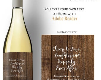 Wine Labels, Editable wine labels, rustic wedding templates, Instant Dwnload self editable PDF file A503