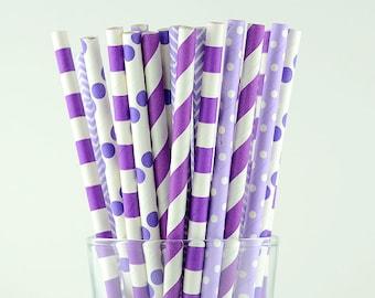 Purple Mix Paper Straws/Striped/Chevron/Polka Dots/Circle Straws/Party Decor/Cake Pop Sticks/Party Supplies/Wedding/Baby Shower