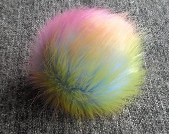 Size L ( colorful ) faux fur pom pom 5 inches/ 13 cm