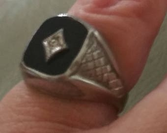 sterling Silver Onyx pinky Ring