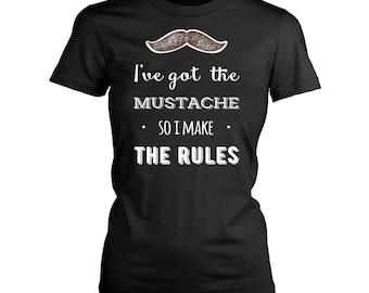 Mustache womens fit T-Shirt. Funny Mustache shirt.