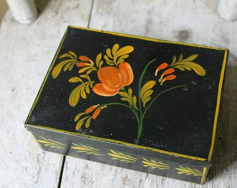 Small Tole Painted Box with Lid-Black with Decoration