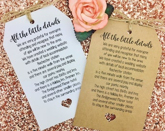 Personalised Wedding Accommodation/ More Derails Card / Tag Favour
