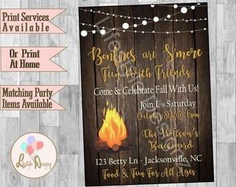 Backyard Bonfire Party Invitation - Bonfire Invitation - Fall Party - Rustic Fall Invitation - Bonfire Invite - Smore Fun - Smores