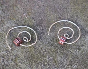SALE Spiral Hoop Trade Beads & Amber (Sterling Silver) 10 dollars off (New Price Listed)