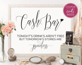 Cash bar sign Printable wedding sign Wedding bar sign Party sign Engagement bar signs Alcohol sign Party decorations Instant download