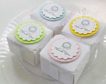 Lion shower/party favor box, baby pink, baby blue, bright yellow or lime green