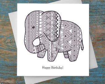 Original Elephant Birthday Greetings Card