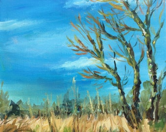 Acrylic Landscape Painting, Original art, Willow tree and rushes with blue sky, Early Spring bare branches, square canvas 40x40cm