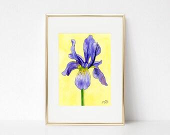 Iris DIGITAL DOWNLOAD,  Spring decor, purple iris, spring flowers, Easter printable, Spring printable art, iris watercolor