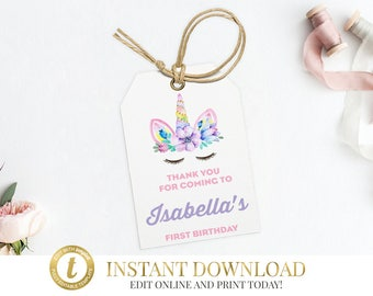 Unicorn Party Gift Tags, Thank You Tags, Unicorn, Unicorn Birthday, Gift Tags, Unicorn Tags, Unicorn Favor Tags, INSTANT DOWNLOAD, Favor tag