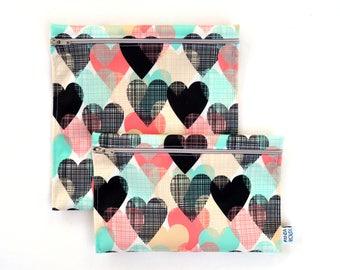 Sacs à sandwich et collation réutilisables - Coeurs - Reusable bags - 1 snack bag 1 sandwich bag - Hearts