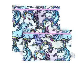 Sacs à sandwich et collation réutilisables - Licornes - Reusable bags - 1 snack bag 1 sandwich bag - Unicorns