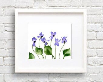 Violet Flower - Violets Art Print - Flower Wall Decor - Floral Watercolor Painting