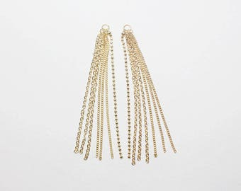 P0675/Anti-Tarnished Gold Plating Over Brass /Mixed Chain Pendant/8x75mm/2pcs