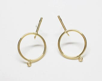 E0201/Anti-Tarnished Matte Gold Plating Over Brass/Large Circle Bar Stud Earrings/29x16.5mm/ 2pcs
