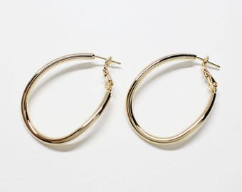 E0225/Anti-Tarnished Gold Plating Over Brass+Surgical Post/Large Teardrop Hoop Earrings/40.5x26mm/2pcs
