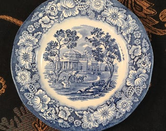 Bread & butter plate, Liberty Blue - Monticello; Staffordshire, England; Ironstone; vintage transferware; blue and white; #241
