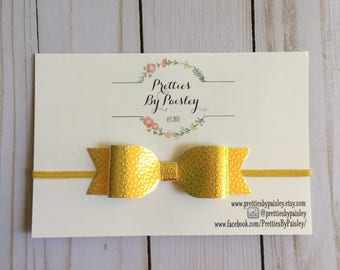 SALE - Sunshine Yellow Bow, Color chaning fabric bow, Yellow Shimmer Bow, Baby Shower Gift, Newborn Headband