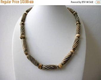 ON SALE Vintage 1960s African Bone Carved Necklace 80117