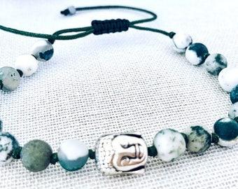 Buddha Mala Bracelet, Tree Agate Bracelet, Yoga Bracelet, Meditation Bracelet, Gemstones Bracelet, Yoga jewelry, Mala Beads, Yoga gifts