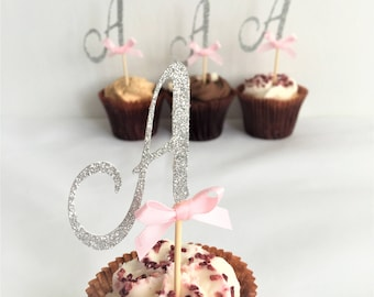 Initial Letter Cupcake Toppers, Monogram Picks, Customised Cake Decor, Personalised, Set of 10, Any Letter, Special Occasion