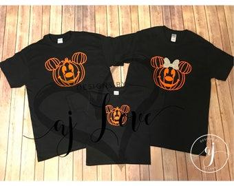 Family Disney Halloween Shirts -Mickey & Minnie pumkins **Listing Price is Per Shirt Per Size***