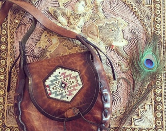 Leather Boho Navajo Bag