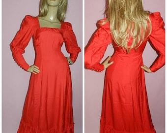 15% off Vintage 70s PILLAR BOX RED Bohemian maxi dress 10 S 1970s Boho Hippie Hippy Deep cuffs Victoriana