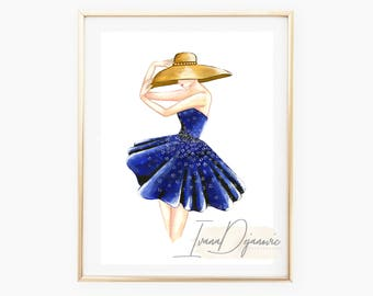 Blue flower Fashion Sketch Print,Flower Print,Fashion Illustration Wall,Art Print,Fashion Poster Home Decor,Flower Girl Bathroom Print