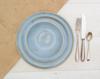 Handmade Dinnerware Set - Including: Dinner Plate, Side Plate and Bowl - Calm Seas Blue Glaze - Made to Order