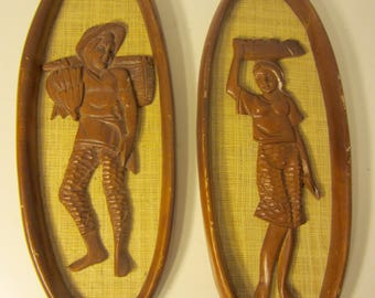 Vintage Pair Mid Century Modern MCM Wooden Carved Wall Plaques