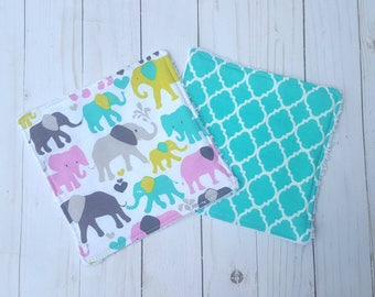 Pink and Teal Elephant washcloths- set of 2, baby shower gift girl,  reusable wipes, cloth wipes, wash cloths, bath accessories, baby girl