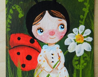 ACEO original acrylic painting atc artist trading card mini art Ladybug cute art