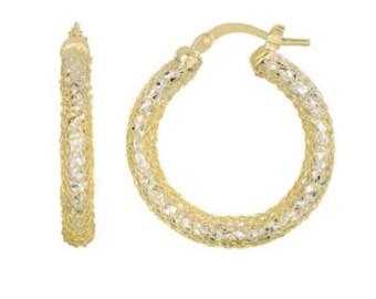 14kt Yellow+White Gold Diamond Cut Mesh Like Sparkle Round Hoop Earring