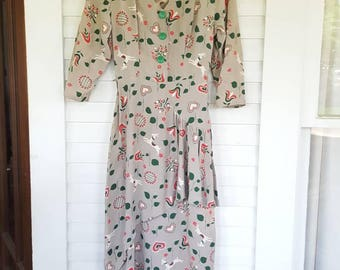 40s 40's 1940s Vintage Dress War Bride German Deer Print Bavarian Small Extra Small XS S Pinup Peplum Wiggle Gorgeous Unique Rayon Rare