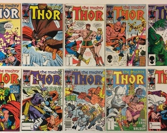 The Mighty Thor #s 354-369 Lot of 10 Marvel Copper Age Comic Books 1985-1986 FN+ to VF/NM