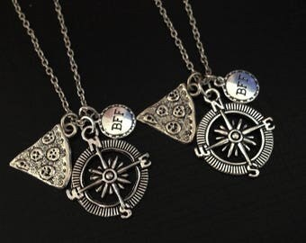 set 2 pizza necklace - compass necklace - bff necklace - friendship necklace - girlfriend necklace - best friend gift - birthday