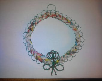 Braided green and Brown wire and paper wall decor