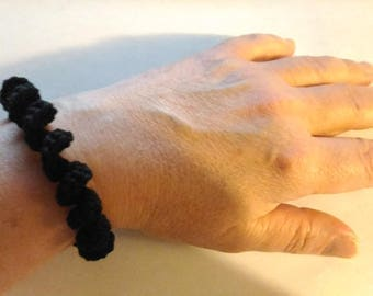 original black cotton crochet bracelet
