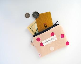 Pink Polka Dot Coin Purse Keychain, Change Purse, Card Wallet, Navy Blue Zipper, Navy Blue Lining, Small Zipper Bag, Key Chain