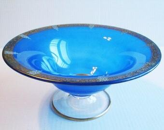 Cobalt Elegant Glass Pedestal Bowl, Art Deco, Etched Gold Rim, Hand Painted Flowers, Blue Undercoated Paint, 1930s, Depression Glass