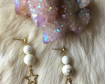 Howlite Gold Star Post Earrings