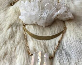 Golden Crescent Titanium Aura Quartz Necklace
