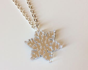 Snowflake | Ice | Snow | Winter | Christmas | Winter Is Coming | Laser Cut | Acrylic | Necklace
