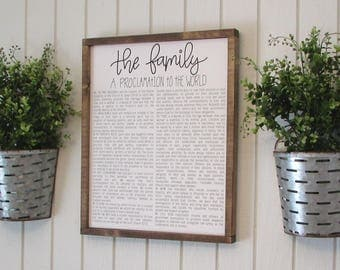 The Family Proclamation, Wood Sign, LDS Art, LDS Home Decor, Handletter