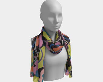 Pop Camo Black Long Scarf