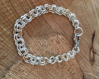 Sterling Silver and Gold Filled double link chain Bracelet