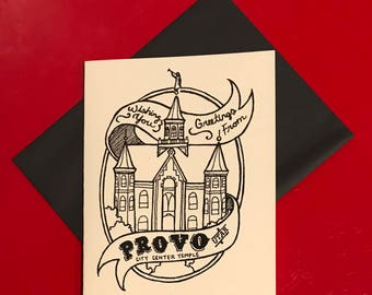 black and white hand lettered provo temple card