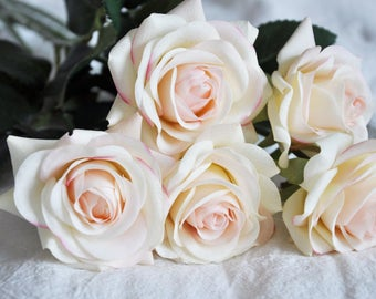 1 stem Ivory Blush Real Touch Flowers Latex Natural Touch Artificial Rose home decoration Wedding Bouquet